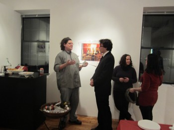 At the opening, Andrew T talks to Andrew B